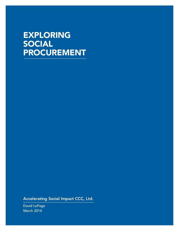 Exploring Social Procurement in Canada Report