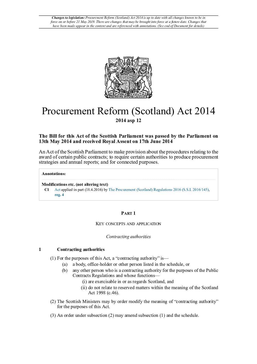 Scotland's Procurement Reform Act