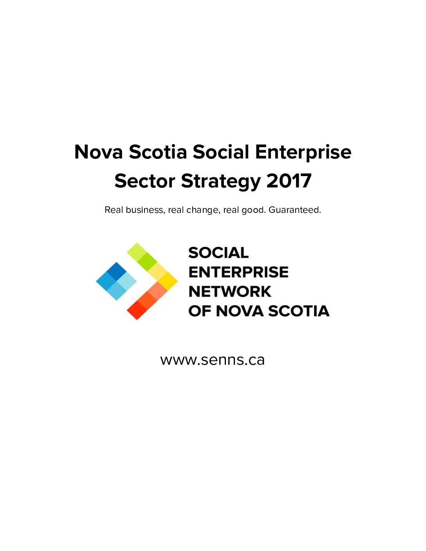 Nova Scotia Social Enterprise Sector Strategy 2017