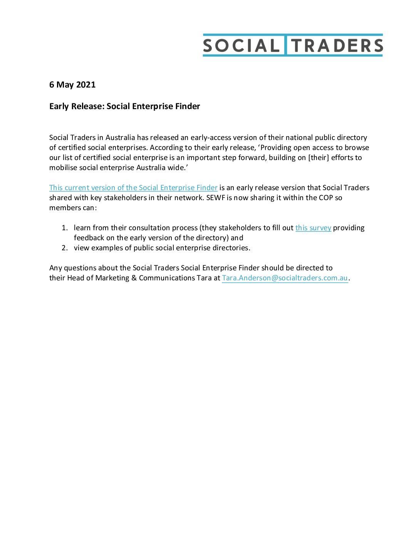 Australia's Social Enterprise Finder (early release)