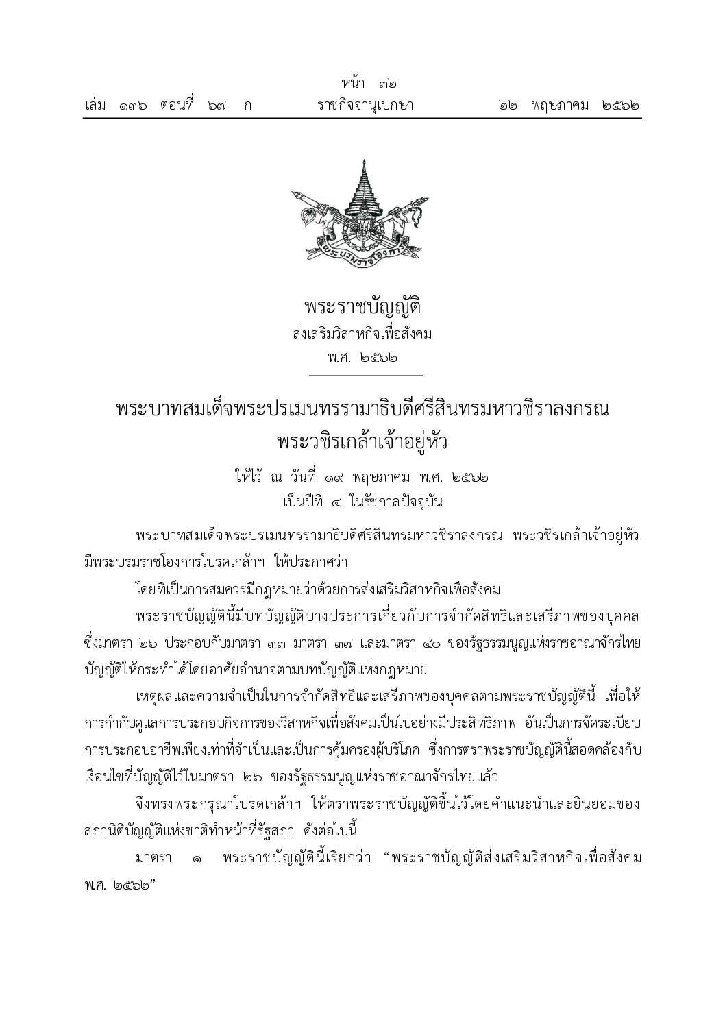 Thailand Social Enterprise Promotion Act