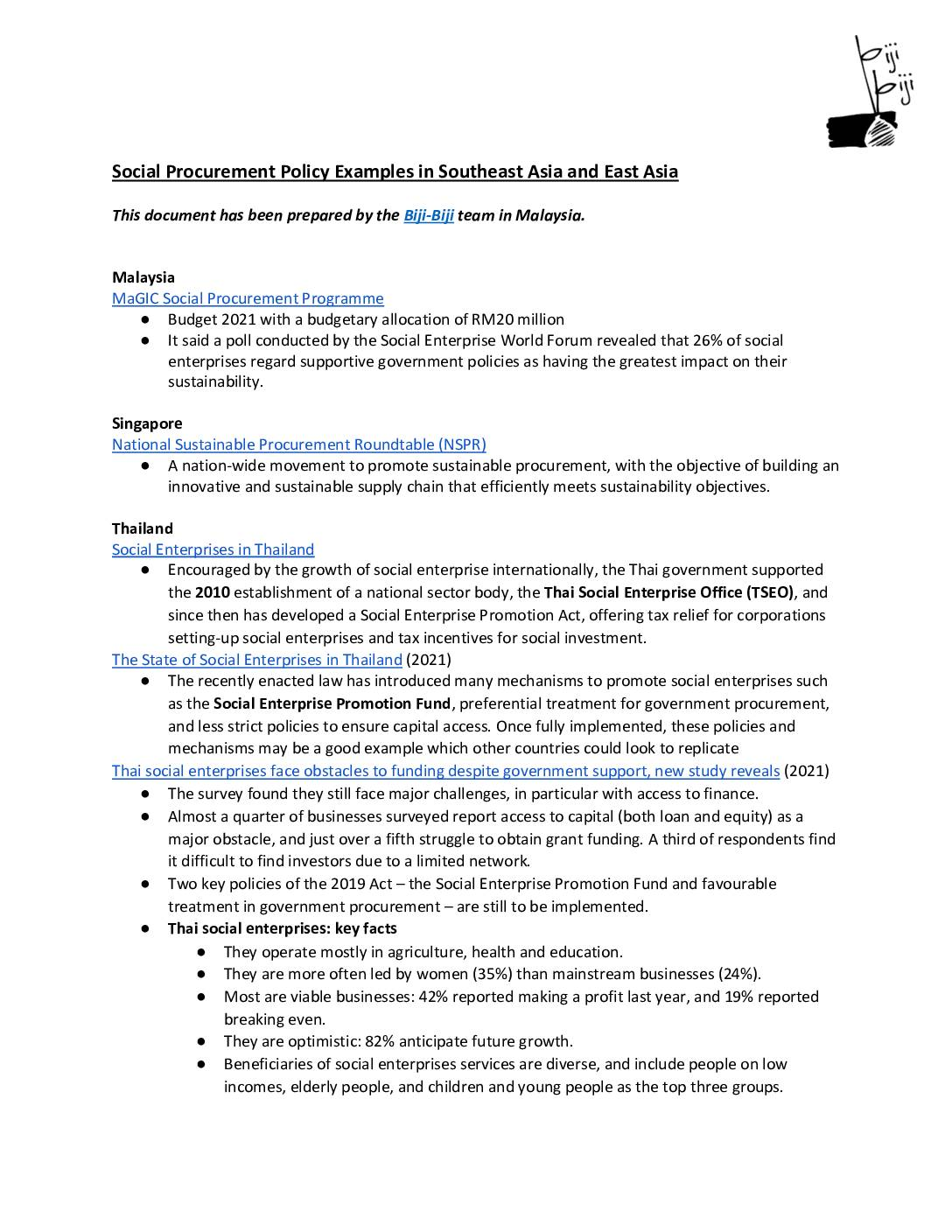 Social Procurement Policy Examples in South East and East Asia