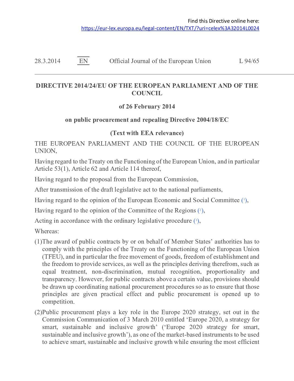 EU Public Procurement Directive