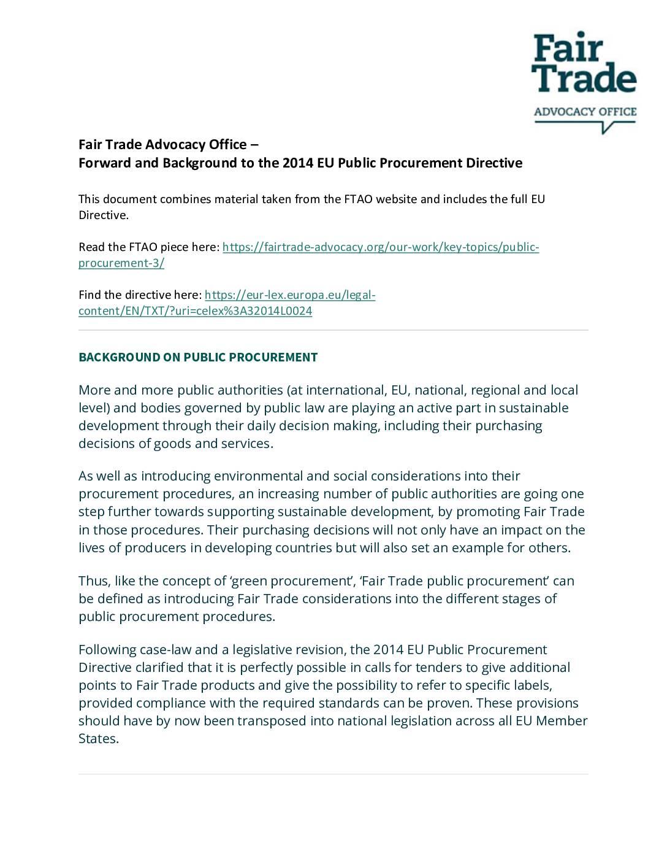 Fair Trade Advocacy Office Comment – EU Public Procurement Directive