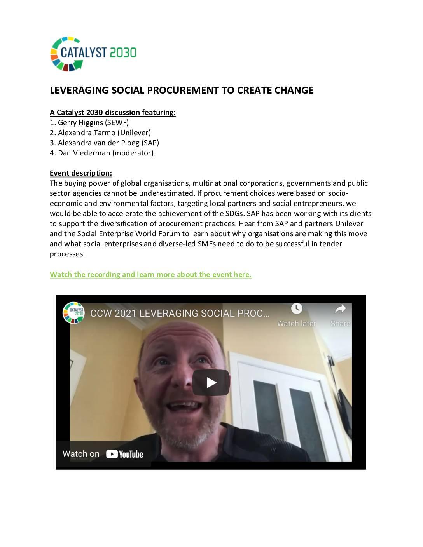 Leveraging social procurement to create change – Event recording