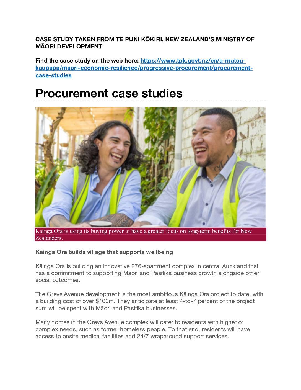 Social procurement case study: Māori enterprises
