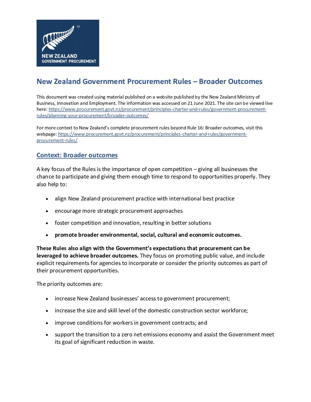 Government Procurement Rules: Broader Outcomes