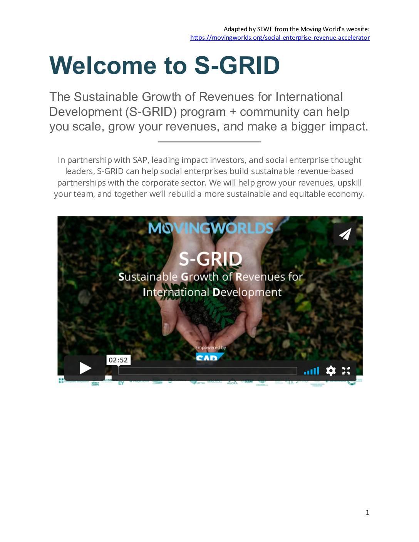 S-GRID Training Programme Information