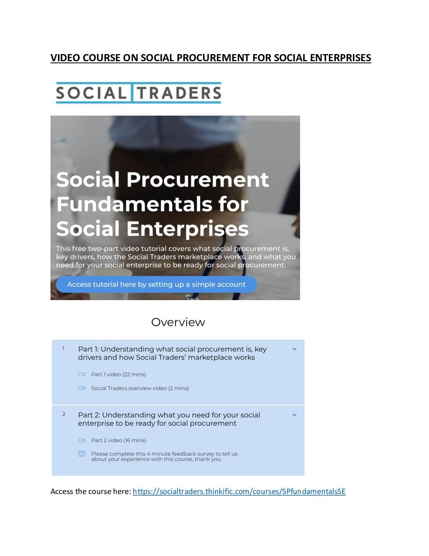 Social Procurement Video Course