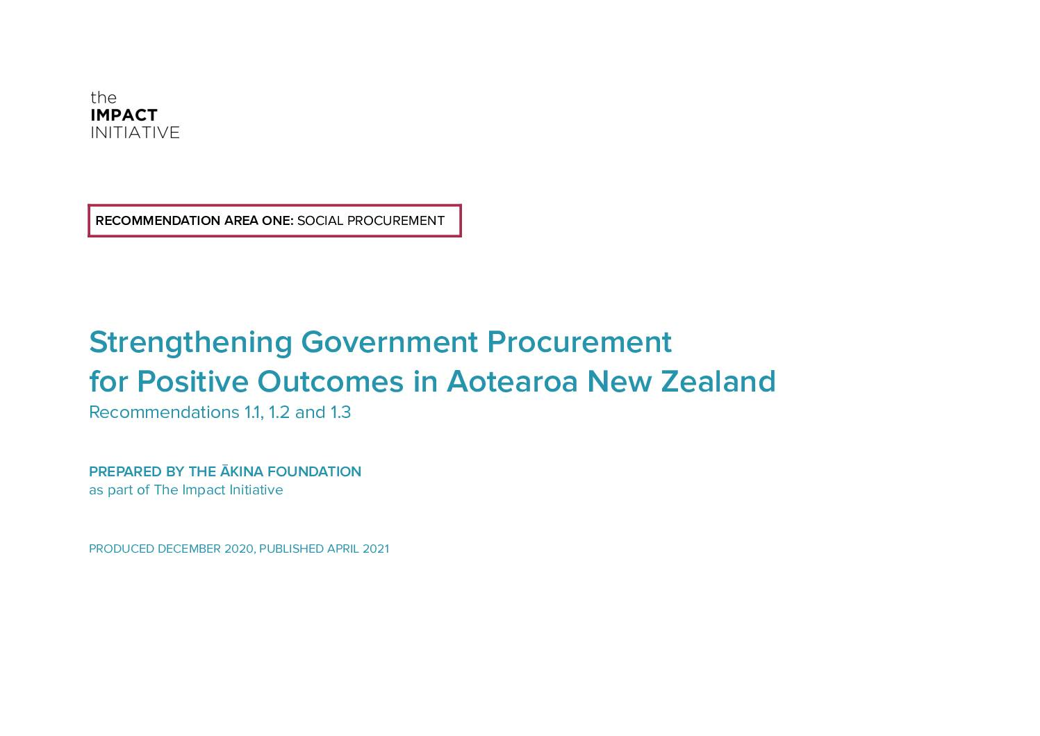 Strengthening Government Procurement: A White Paper